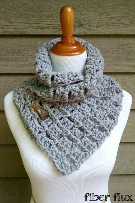 The Margaret Button Cowl, a free crochet pattern from Fiber Flux