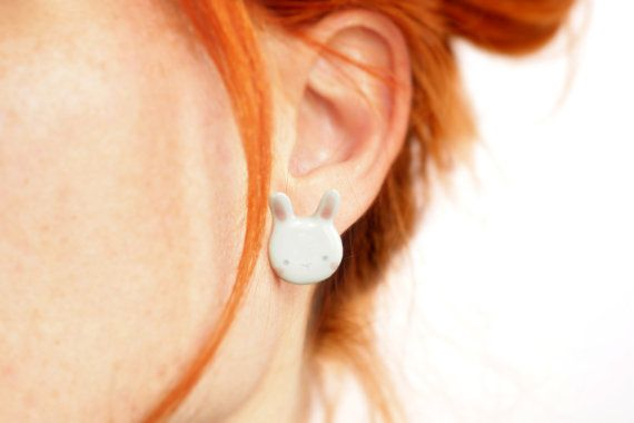 Ceramic Bunny Earrings, White and pink, Handmade, White Italian clay and…