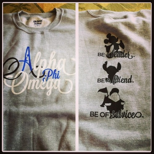 alpha phi omega with Disney? Perfect.