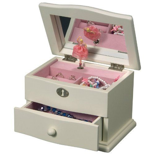 Girls Dancing Ballerina Jewelry Box with Music Box by Mele Jewelry Box Co. $40.00. Features 1 open drawer with wooden knob pull. Soft, ivory painted finish and curved molding. Measures 7.25L x 5.25W x 5H inches. Features 1 open section and 1 ring roll. Wooden musical ballerina jewelry box. Our girls dancing ballerina jewelry box is fashioned in a classic wooden keepsake design for little girls with a wind up music box.Open the lid and  a pretty dancing ballerina spins to the b...