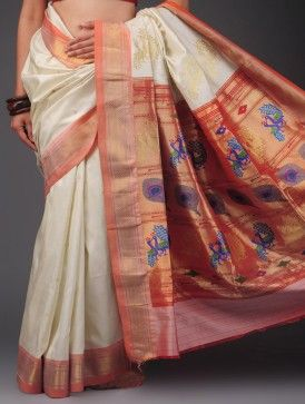 Cream-Peach Paithani Silk Gold Zari Boota Saree