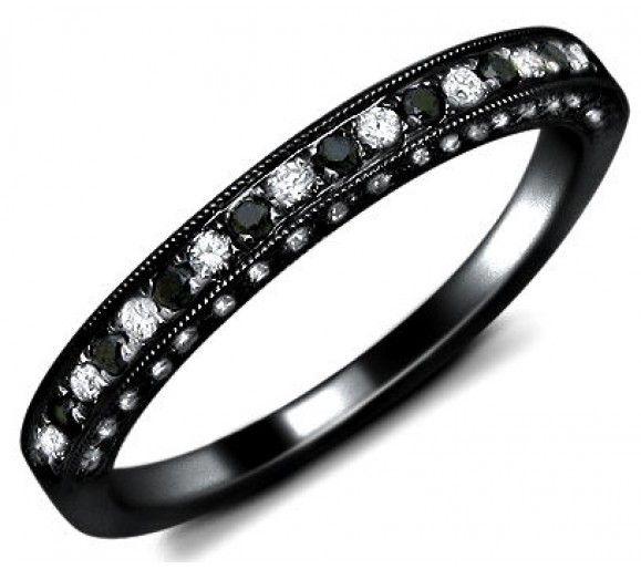 .80ct Black & White Round Diamond Wedding Band Ring 18k Black Gold