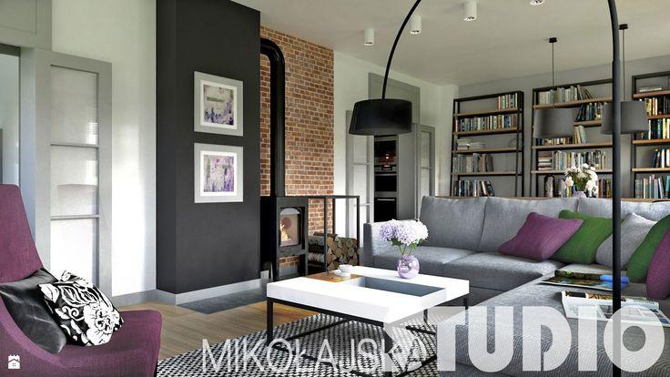 projekty salonów z kominkiem - zdjęcie od MIKOŁAJSKAstudio - Salon - Styl Industrialny - MIKOŁAJSKAstudio