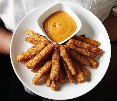 Hearts of Palm Fries with Chipotle Mayo - love the idea of frying the hearts of palm.