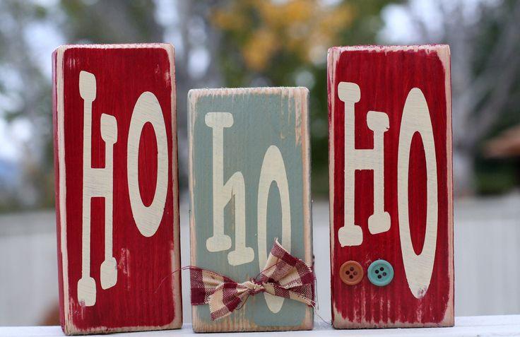 Ho Ho Ho wood block set. Country Christmas decor. by SimplySaidBlocks on Etsy https://www.etsy.com/listing/83731074/ho-ho-ho-wood-block-set-country