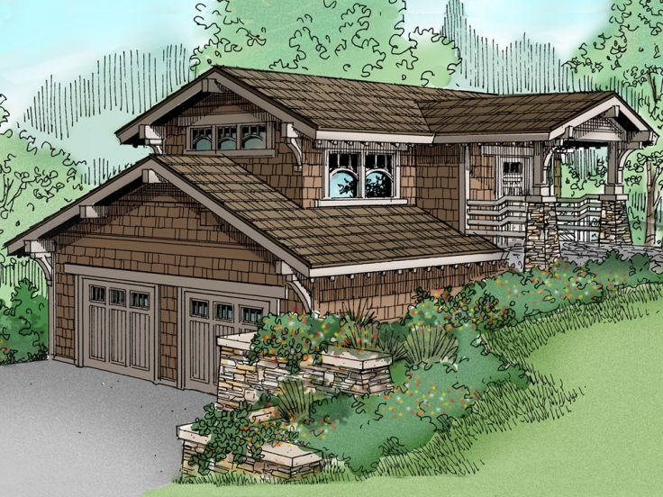 69 best carriage house plans images on pinterest garage for Hillside house plans with garage underneath
