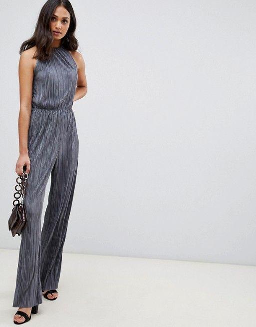 9f2e43d81316 Miss Selfridge plisse jumpsuit in gray