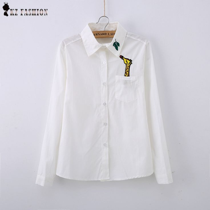 New White women Blouses embroidery Giraffe Leaves/Swan/Fox cotton peter pan collar female Japanese style women shirt T5D358V