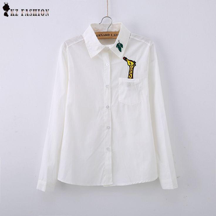New White women Blouses embroidery Giraffe Leaves/Swan/Fox cotton peter pan collar female Japanese style women shirt T5D358V