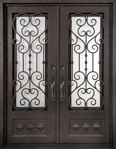 62x98 Victorian Iron Double Door. Beautiful wrought iron front entry door with grille from Door Clearance Center.