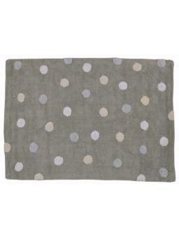 Tappeto lavabile grigio a pois bianchi e azzurri - Le civette sul Comò - design per bambini e genitori