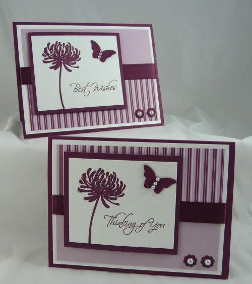 monochromatic cards ... if white doesn't count as a color ... purple! ... two cards identical except for one slight variation ... Stampin' Up!