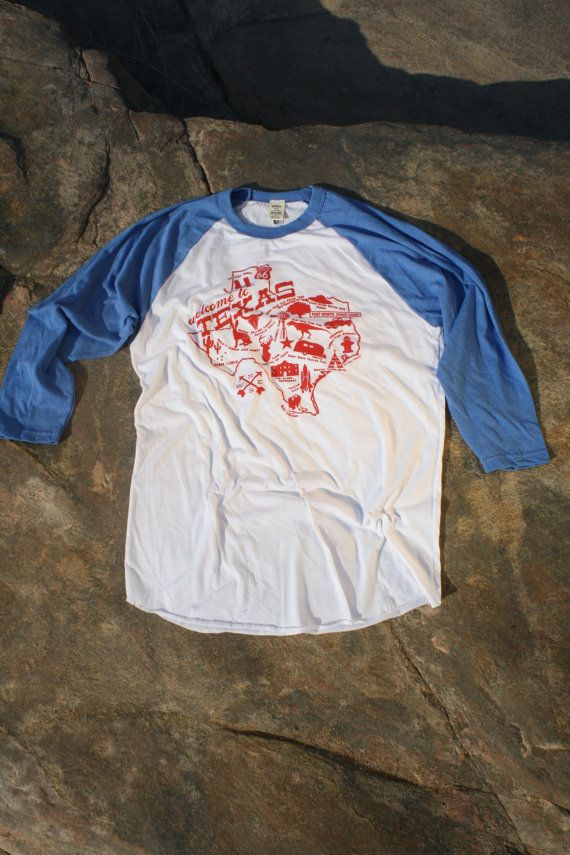 "Texas Shirt MEDIUM ""Welcome to Texas"" Roadtrip Tee. Texas Baseball shirt. Texas Raglan Tshirt. TX Map. Hipster Graphic shirt. Unisex Adult."