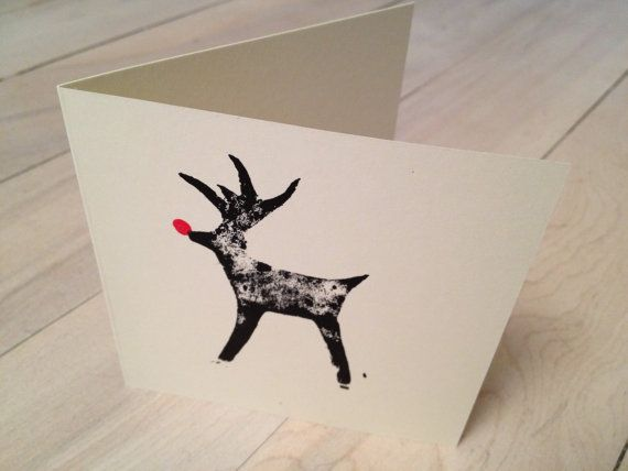 Pack of 10 RUDOLPH REINDEER red nose handmade lino cut Christmas cards