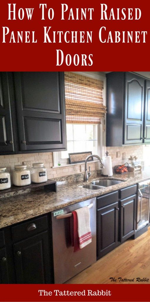 cherry kitchen cabinet makeover/black painted kitchen cabinets/how to paint raised panel kitchen cabinet doors
