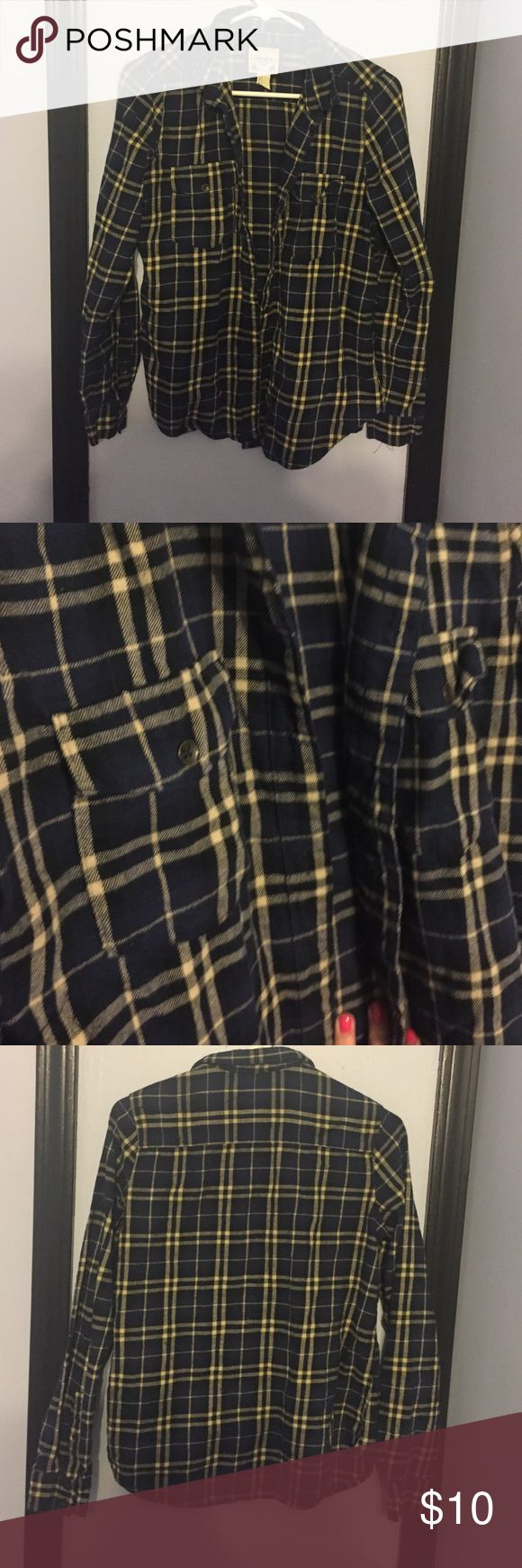 Blue and yellow flannel! Hardly worn blue and yellow flannel. Size medium from forever 21 Forever 21 Tops Tees - Long Sleeve