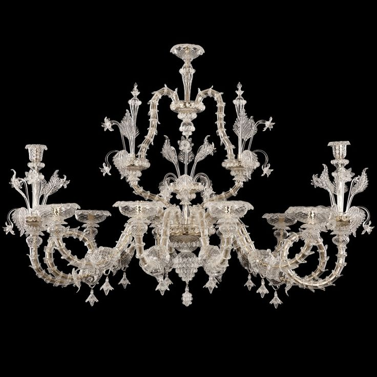 Artistic #glass #chandelier, #Rezzonico #Murano style. Crystal color, gold structure.