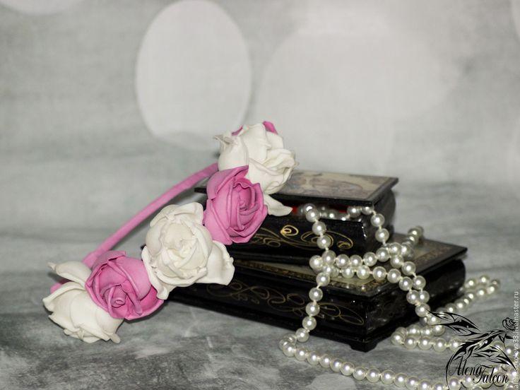 Купить Ободок для волос розы белый розовый выпускной - белый, ободок для волос, ободок с цветами