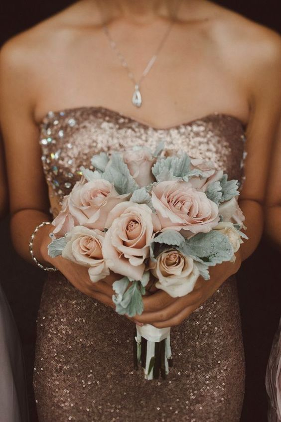 Rose Gold Sequin Bridesmaids Dresses with Blush Flowers? Love this pairing… Women, Men and Kids Outfit Ideas on our website at 7ootd.com #ootd #7ootd