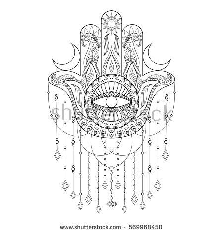 Hamsa hand vector illustration. Hand drawn symbol of protection for adult anti stress coloring book, page in zentangle style. Blackwork yoga tattoo design