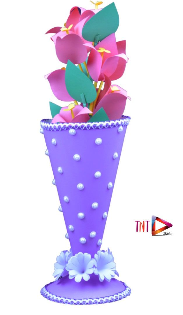 Paper Flower Pot Cone Shaped How To Make Beautiful Flower Vase At Home Diy Craft Ideas Y Paper Flower Vase Paper Flower Arrangements Paper Flower Bouquet