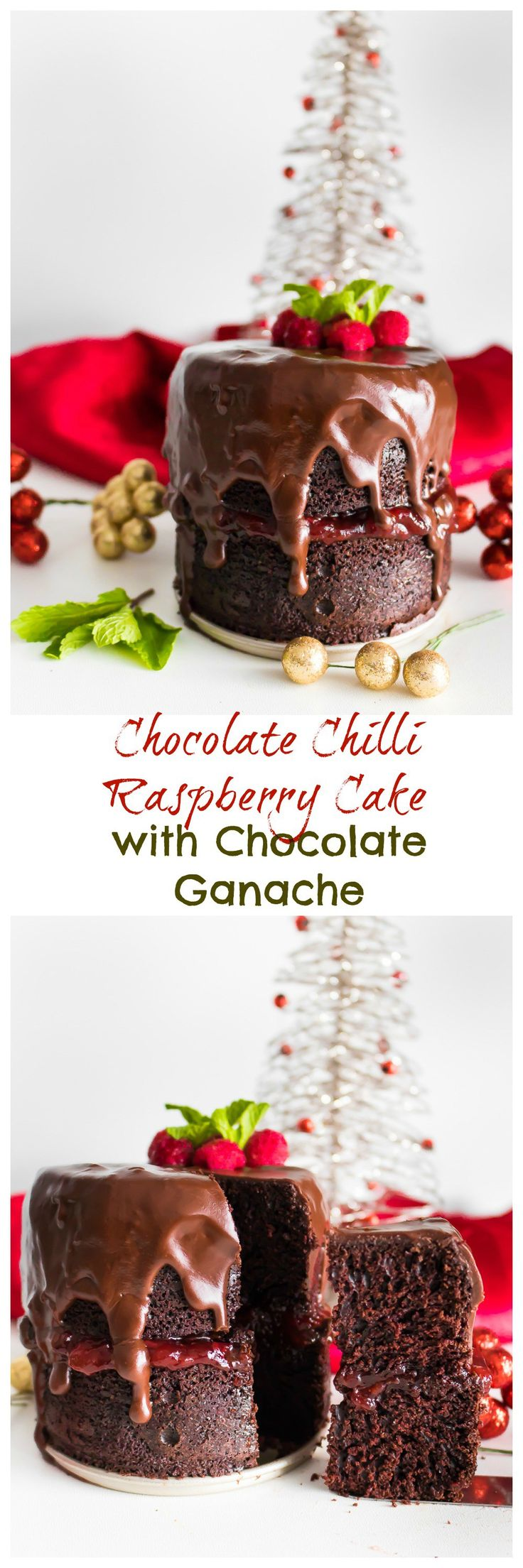 A moist and decadent chocolate cake with a spicy kick. This Chocolate Chili Raspberry Cake with chocolate ganache is dairy free and deliciously festive!