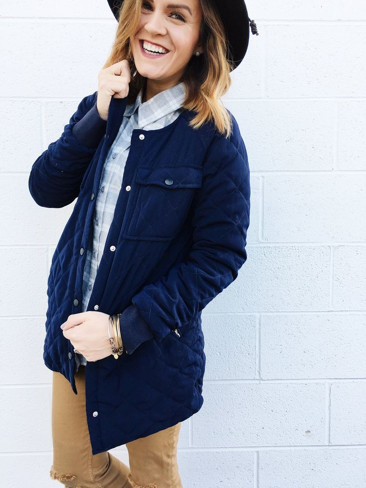 Navy Quilted Jacket | ROOLEE