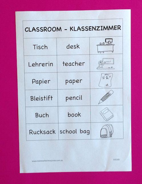 German classroom vocab list for beginning students