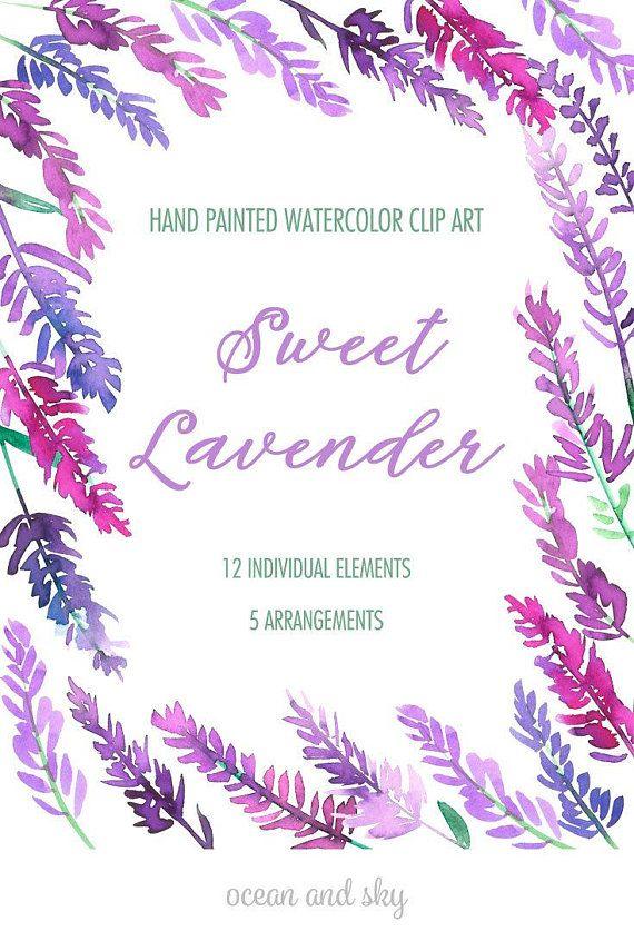 Sweet Lavender Watercolor Clip Art Digital Item Instant Download Watercolorclipart Watercolorgraphics Watercolorflowers Weddinginvitations Floralarrangemen