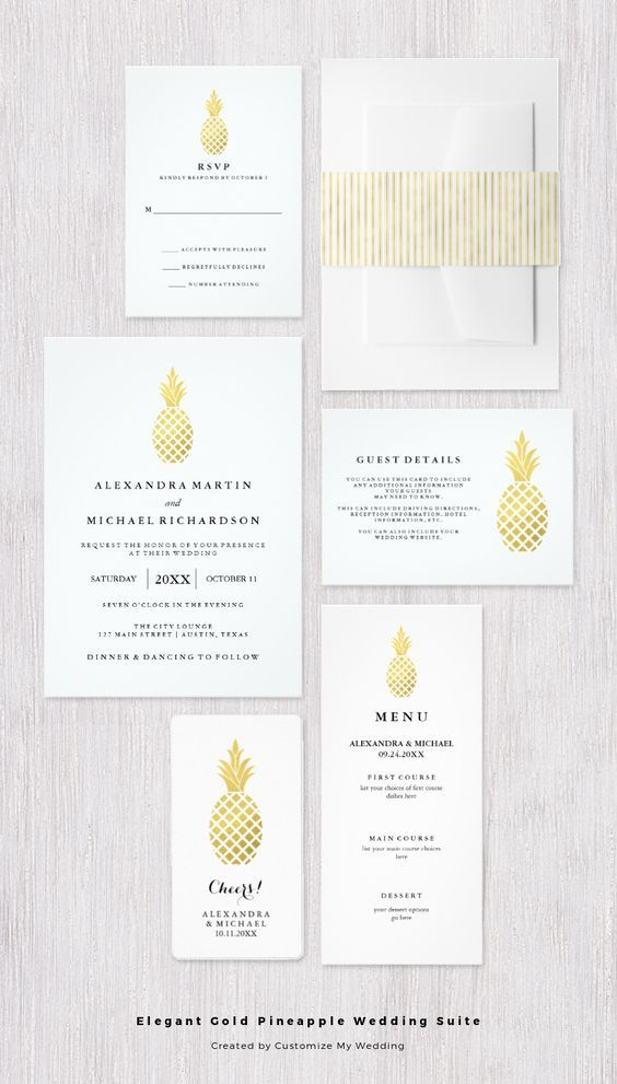 Pineapple wedding invitation  - white and gold