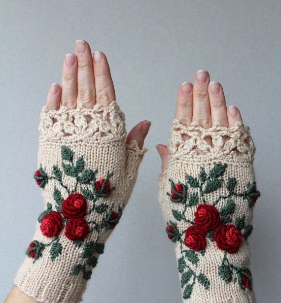 Hand Knitted Fingerless Gloves, Gloves & Mittens, Gift Ideas, For Her, Winter Accessories, Ivory, Red, Green, Flowers, Elegant, Roses,