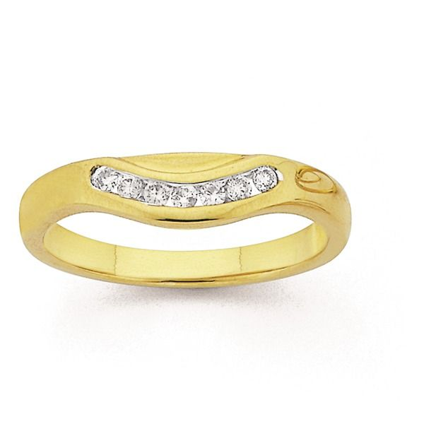 9ct Gold Diamond Curved Flat Band | Wedding ideas ...
