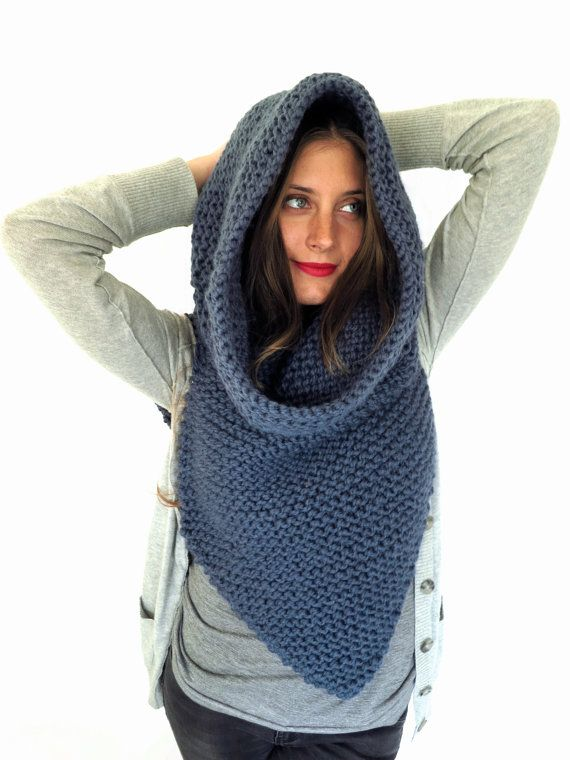 Chunky Soft Knit Poncho Scarf Cowl Hood All in by TwoOfWandsShop $323.88 <3
