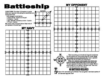 Battleship!  Just when you thought it was safe.... Take advantage of the popular movie out in DVD and get your students to practice  using coordinates just as the heroes must in the movie. A whole new approach for the kids to use -instead of calling out B2 or D5, they need to use longitude and latitude.