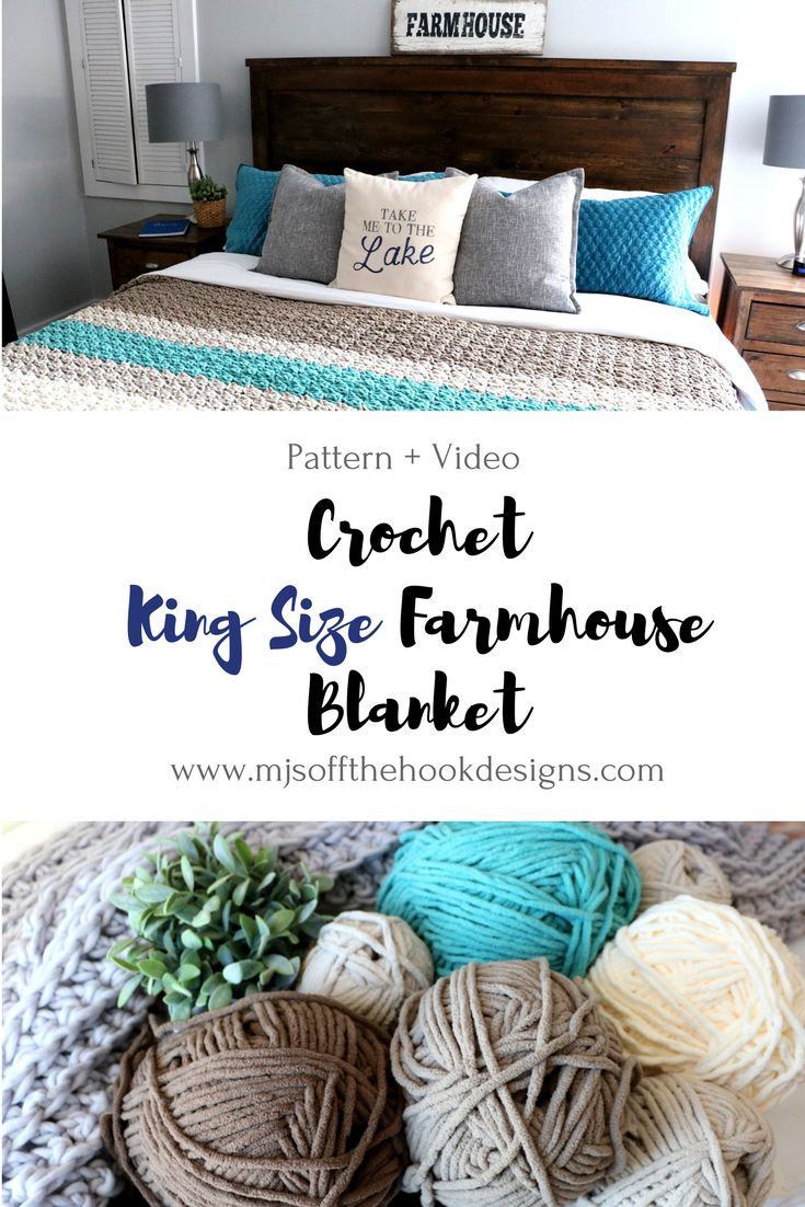 King Size Farmhouse Blanket - I'll use 2 colors for simplicty. Free crochet pattern w video. Color change demo. New ball knotting demo.