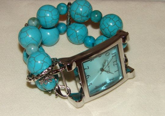 Turquoise colored chunky beaded watch band and face  by BeadsnTime, $30.00