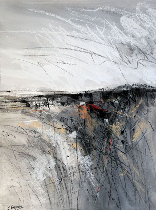 Grey Field One, abstract landscape painting by Carol Engles - 14x19 acrylic, pastel and charcoal on paper http://carolengles.artspan.com