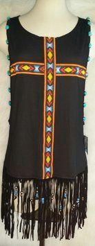 Original Sin At LF Stores Fringe Turquoise Beaded Aztec Top Black $74