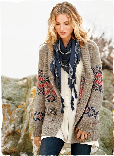 Our cozy cardigan evokes the free-spirited American west. Knit in soft marled yarns of alpaca (94%) and wool (6%), with a shawl collar, horn buttons and ribbed trim.