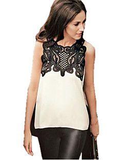 Women's Patchwork White Shirt , Round Neck Sleeveless – USD $ 14.99