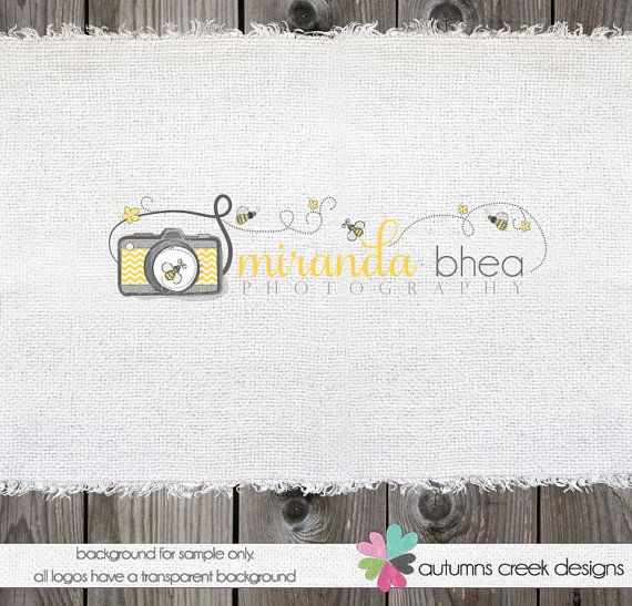 Photography Logo Design Camera Bees Premade Logo Design  OOAK Hand Drawn Not Resold. $75.00, via Etsy.    Love grey and yellow. Maybe I can rename to Kate Chick? A play on Mularczyk (czyk is pronounced chick) Kate Chick Photography?