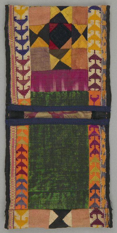 Double Bag, Velvet; embroidered; pieced; warp ikat; cross stitch. Northern Afghanistan / Uzbek