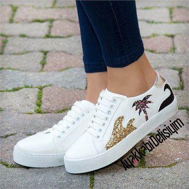 Nimes Simli Spor Ayakkabi Sneakers Shoes White Ayakkabilar Bayan Ayakkabi Sneaker