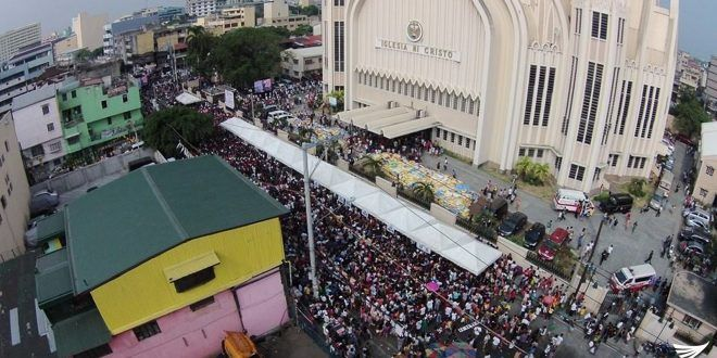 Aerial view of the Iglesia Ni Cristo's Lingap-Pamamahayag in Tondo, Manila