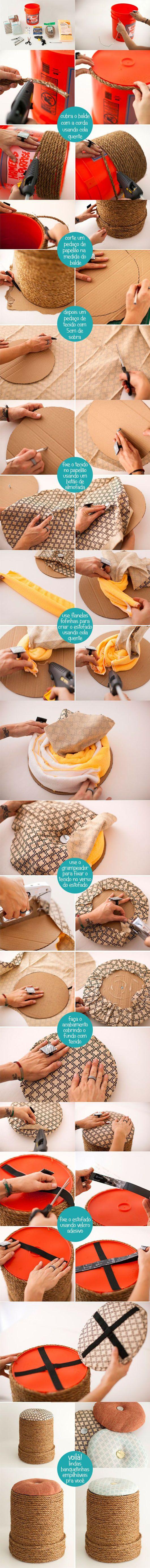 DIY – Passo a Passo: Baldes de plástico viram banquetas! Adoro!!!!