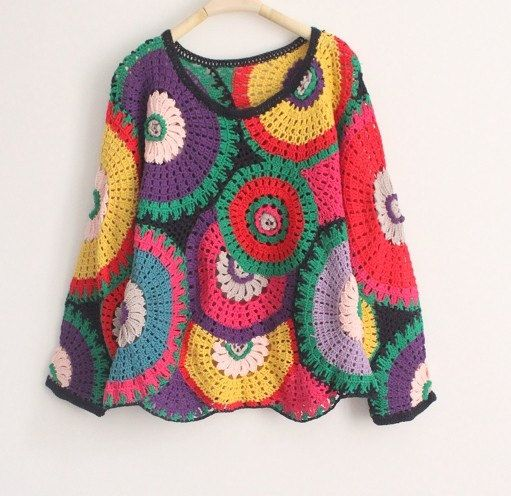 Crochet sweater girl sweater women sweater by auntieshirley, $62.00