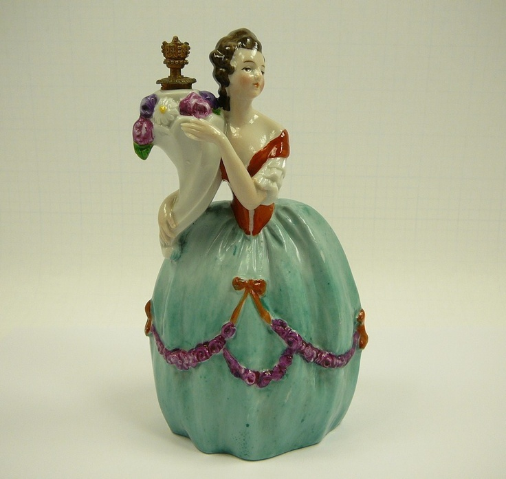 Coronet German Porcelain Figural Lady Perfume Bottle Figurine Germany Crown vtg | eBay I've never seen this one before!