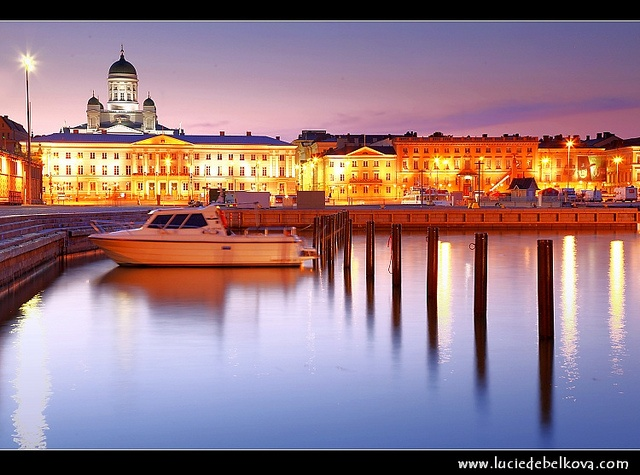 Finland - Dusk over Port of Helsinki and the Helsinki Cathedral