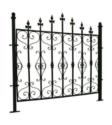 Black Wrought Iron Style Gothic Metal Garden Fence Panel Metalen