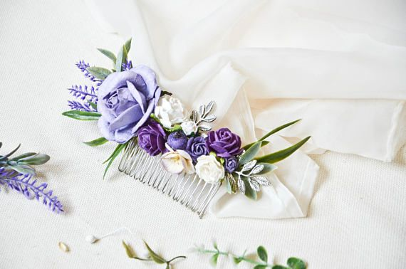 Purple and lilac Bridal Hair Comb Lavender flower hair Comb